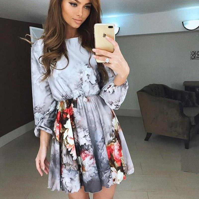 Floral Print Summer Women Dress 2018 New Arrivals Chinese Style Lantern Long Sleeve Mini Party Dresses