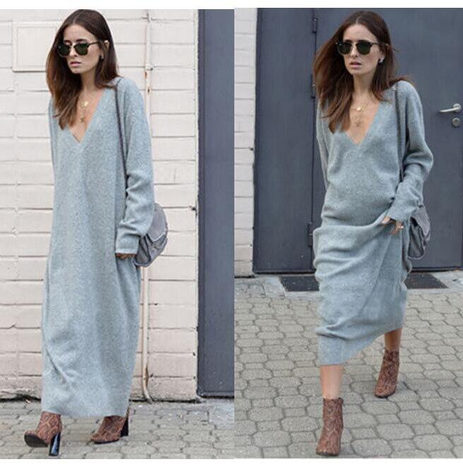 304665cbdc94 Quente 2017 Outono Inverno Vestido de Malha Com Decote Em V Vestidos longos  soltos Mulheres Vestido Vestidos em Vestidos de Roupas das mulheres no ...