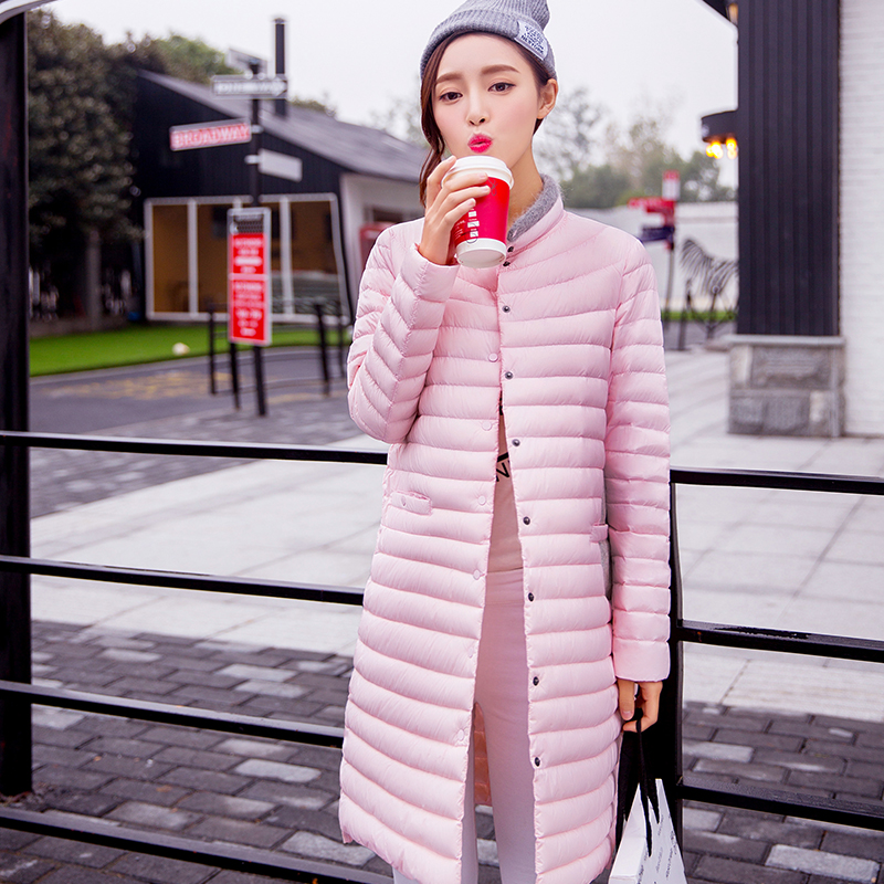 2017 new Korean fashion womens duck down coat long design thin jacket for ladies plus size light outerwear pink grey black xl