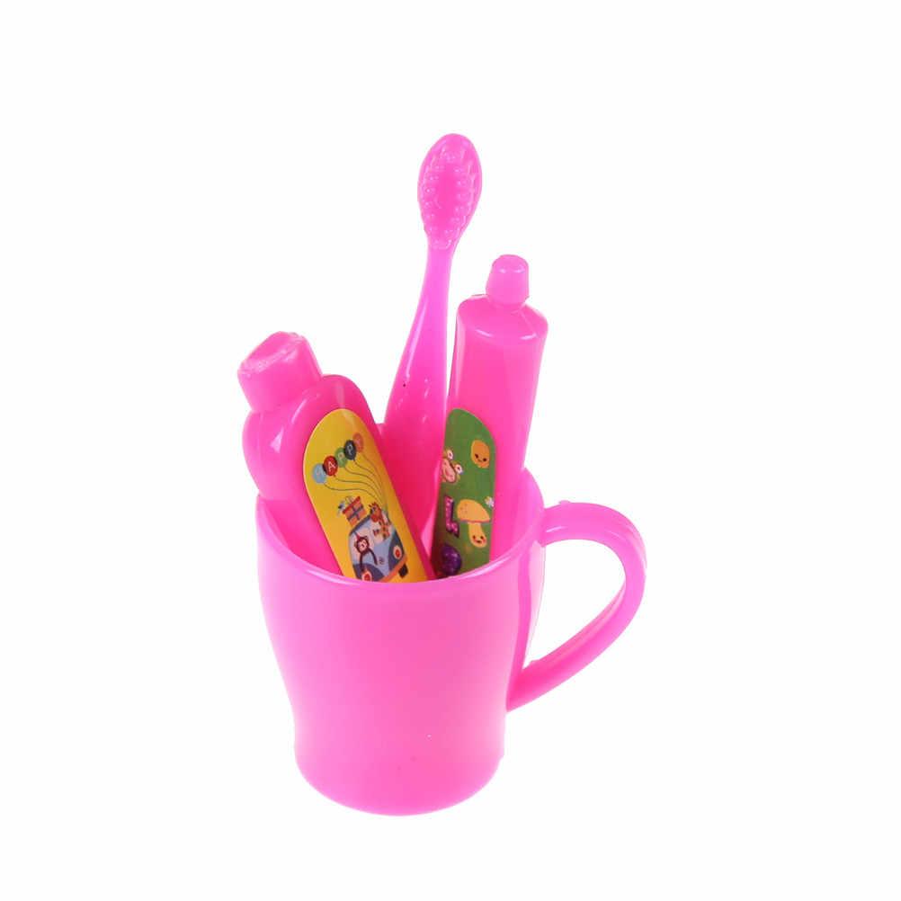 Gorąca sprzedaż 1 zestaw = 4 sztuk Dollhouse tubka do pasty do zębów szczoteczka do zębów łazienka akcesoria dla lalek dziewczyny prezenty zagraj w zabawki domowe