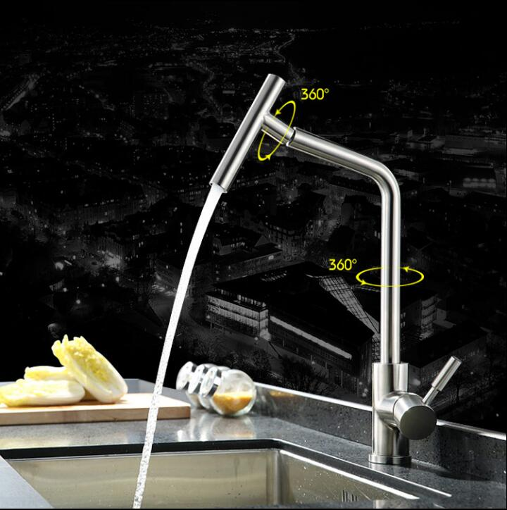 New 304 Stainless Steel Kitchen Faucet Torneira Cozinha Lavabo 360 Degree Rotating Water Tap Vegetable Sink Mixer Tap Faucet frap new white black flexible kitchen sink faucet brass 360 degree rotation torneira cozinha water tap mixer kitchen goods f4042