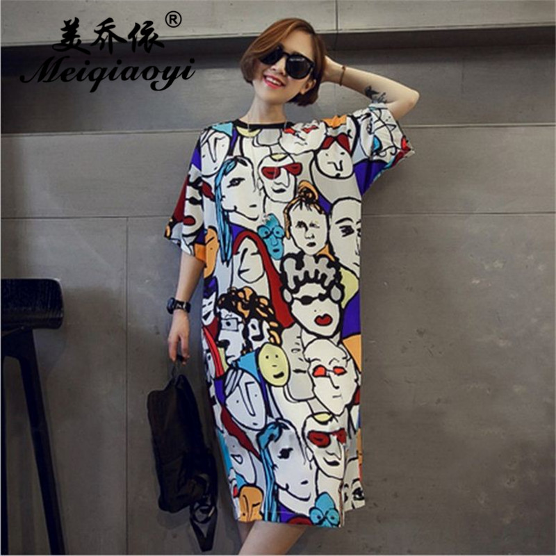 Summer Newest Women's Character printing night skirt Cozy wearing loose Half sleeve Cotton Nightgowns girl Lovely home clothes