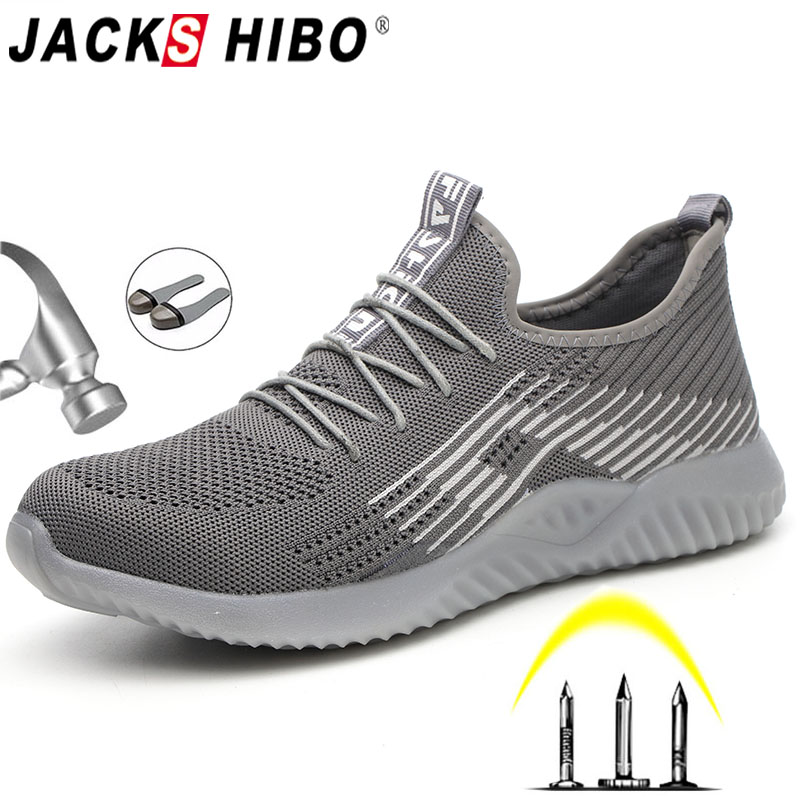 JACKSHIBO Breathable Safety Work Shoes For Men Male Steel Toe Cap Boots Construction Shoes Safety Boots Work Anti-Smashing()