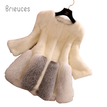 Brieuces autumn winter new tokeep warm ln the long fur coat women high quality slim o neck patchwork