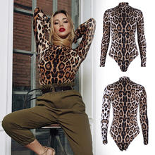 Leopard Bodysuit for Women Sexy Bodycon Skinny Body Suit Turtleneck Long Sleeve