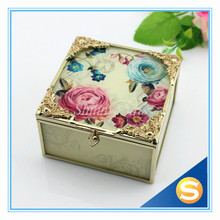 2015 New Fashion Wedding Gifts Design Flower and Butterfly Glass Jewelry Box SC696-BM
