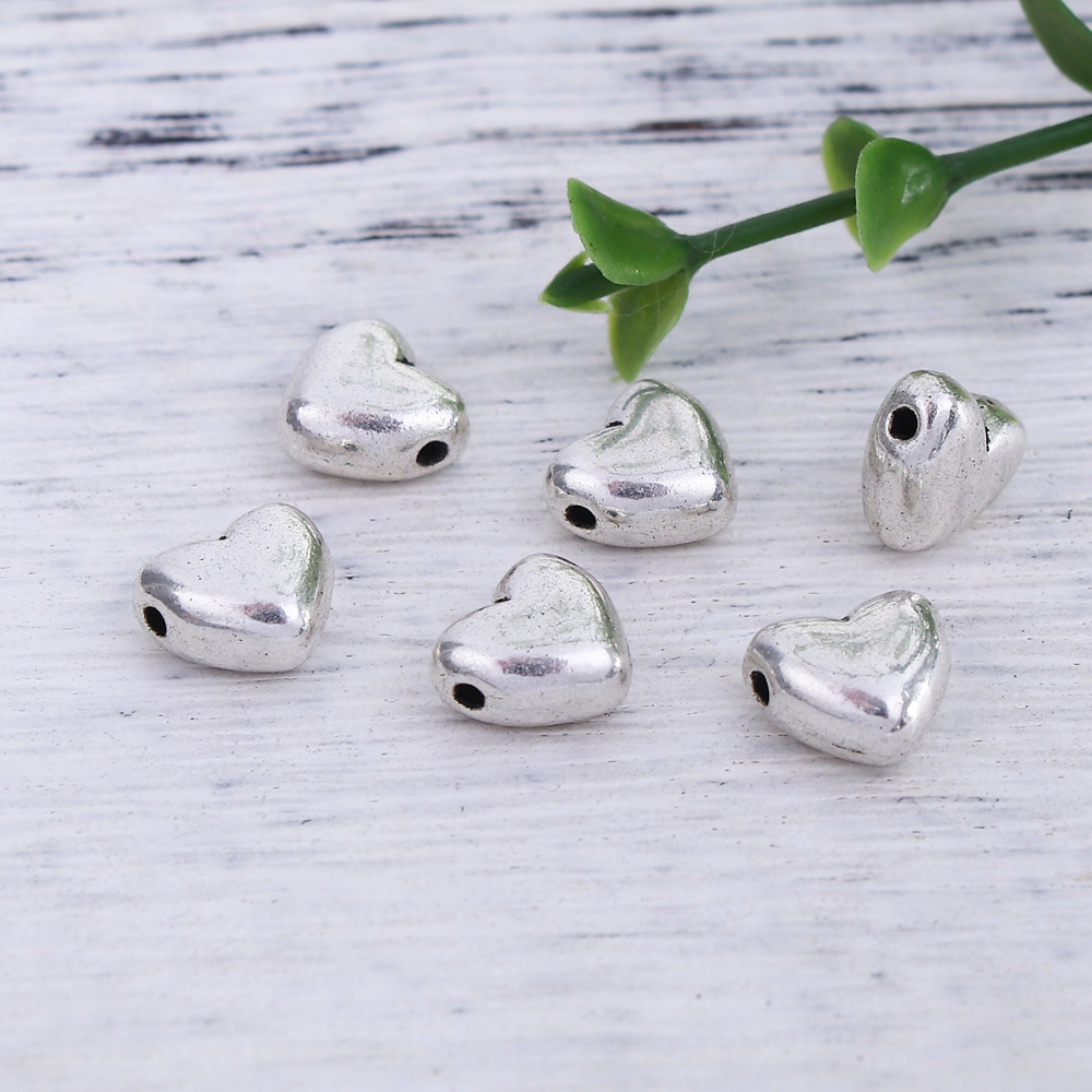 DoreenBeads Zinc Based Alloy Antique Silver Spacer Beads Heart Pattern DIY Components 10mm x 9mm, Hole: Approx 1.1mm, 50 PCs