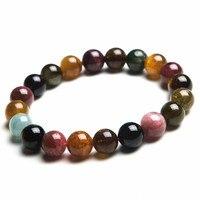 Großhandel 10mm Echtes Bunte Natürlichen Turmalin Armbänder Für Frauen Lady Charm Stretch Runde Kristall Perlenarmband
