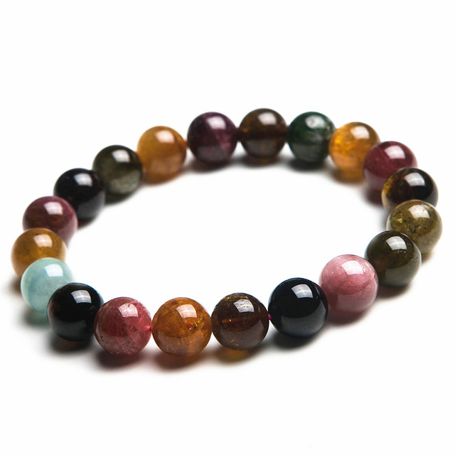 Wholesale 10mm Genuine Colorful Natural Tourmaline Bracelets For Women Lady Charm Stretch Round Crystal Bead Bracelet