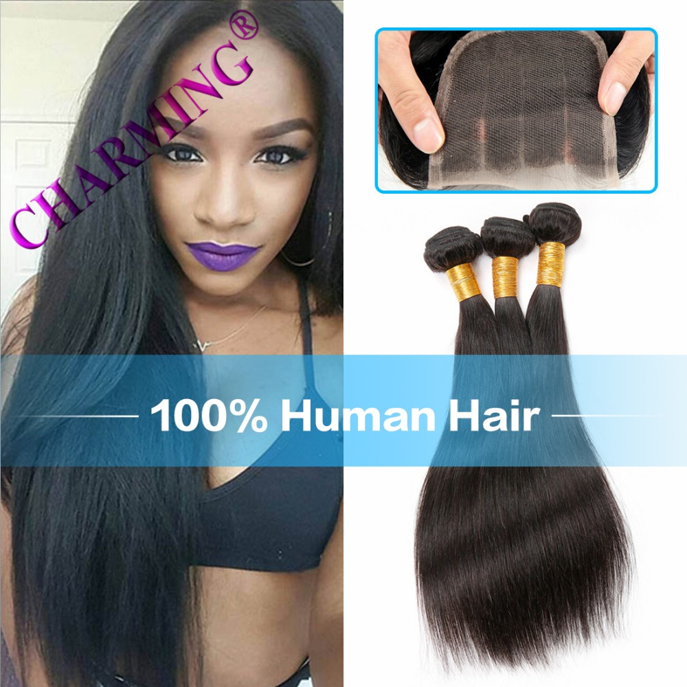 Brazillian font b Straight b font font b Hair b font 3 Bundles With Lace Closures