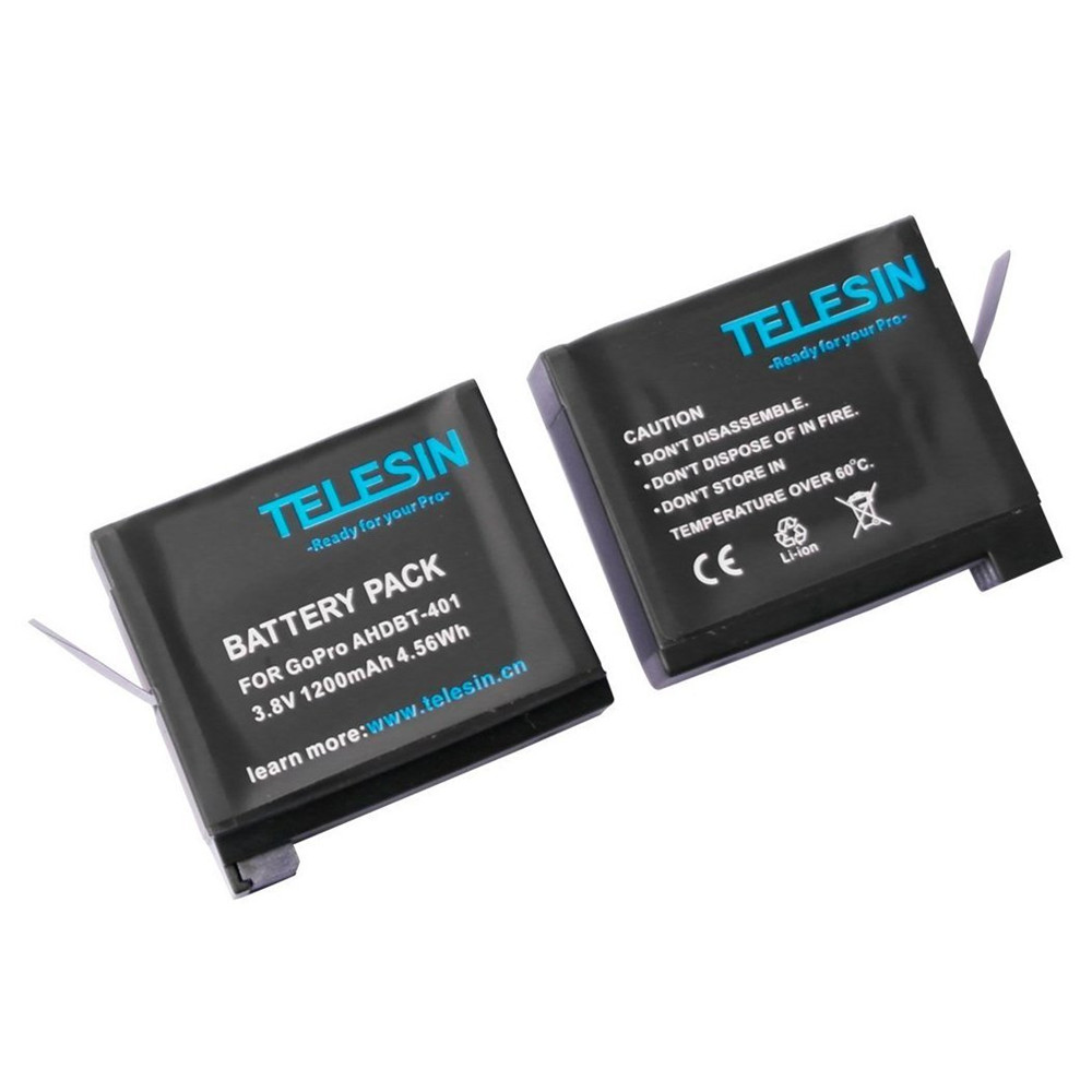 TELESIN 2Pieces 1200mah Rechargeable Battery Replacement Backup Battery Pack for GoPro Hero 4 Black Silver Ahdbt-401 Accessories