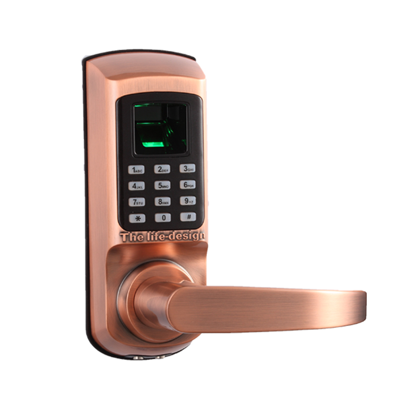 l s smart lock digital code door lock keypad password mechanical key fingerprint single latch. Black Bedroom Furniture Sets. Home Design Ideas