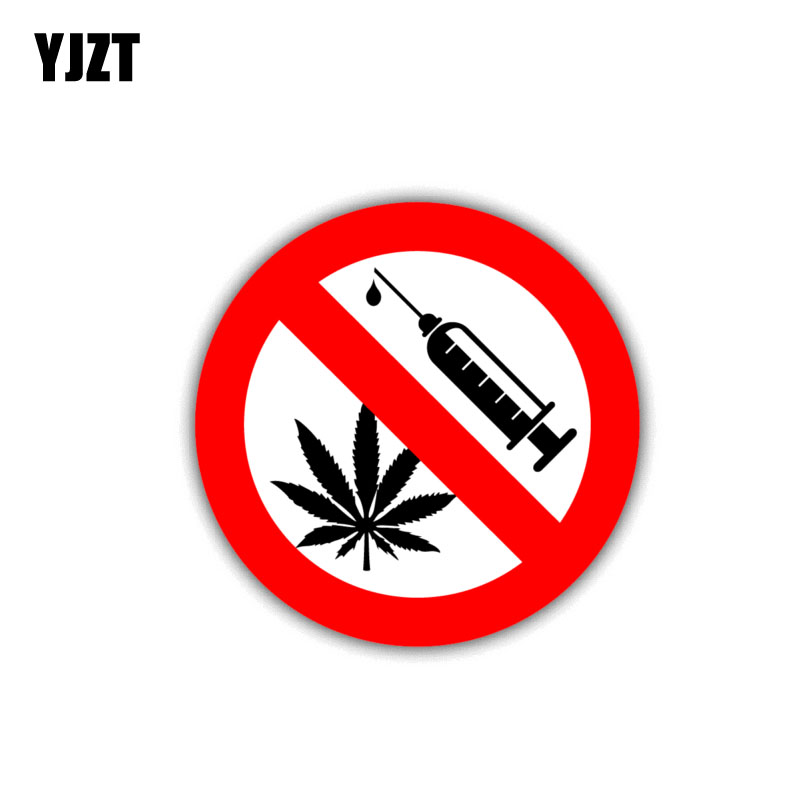 YJZT 10CM*10CM Warning Car Sticker PVC No Drugs Danger Decal 12-1448