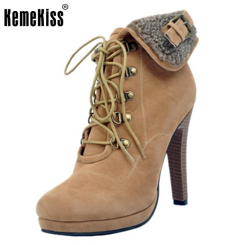 Women Lace Up Platform Ankle Boots Woman Retro Spike Heel Botas Fashion Ladies Suede Leather Heels Shoes Footwear Size 34-47 floveme e8 fashion passometer bluetooth smart watch on wrist for android ios adult reloj intelligent smartwatch sapphire mirror