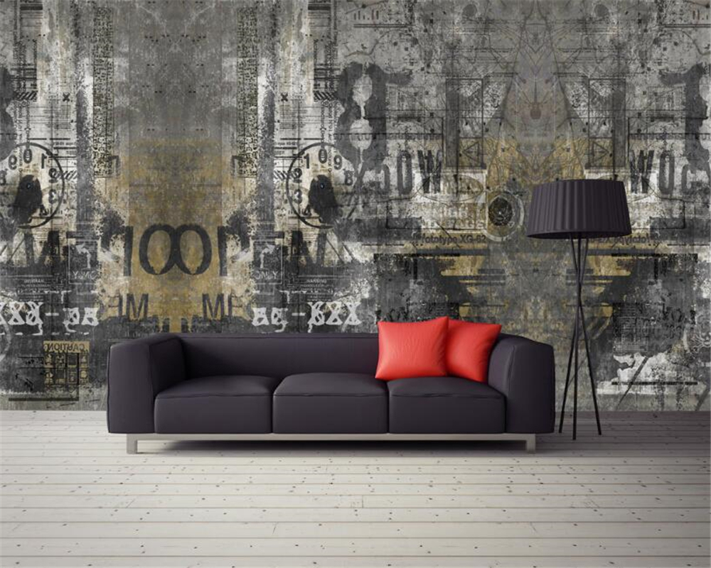 Beibehang Custom 3D Wallpaper Mural Retro Background English Cement Graffiti Photo papel parede mural wallpaper