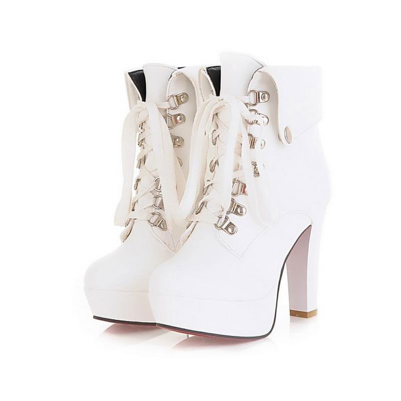 Women Faux Leather Ankle Boots Designer Fashion Platform Chunky High Heels Lace Up Short Booties Woman Autumn Winter Shoes 34-43