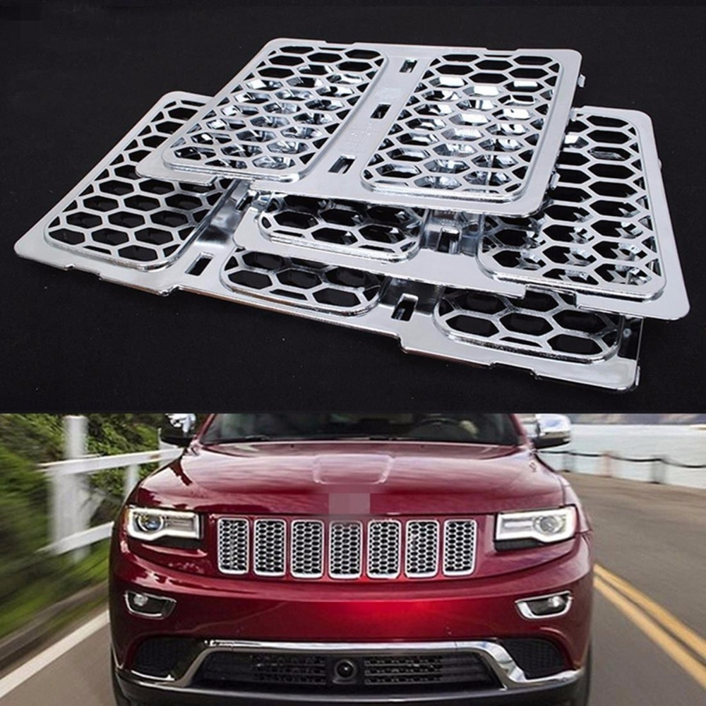 Front Chrome Honeycomb Mesh Grille Grill Inserts Trim For Jeep Grand Cherokee 2014 2015 цена