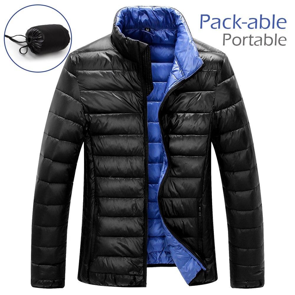 LANBAOSI 2018 Winter Jacket Men Autumn Warm Pack-able Lightweight Stand Collar Coats White Duck Down Jakcet Portable Travel Coat