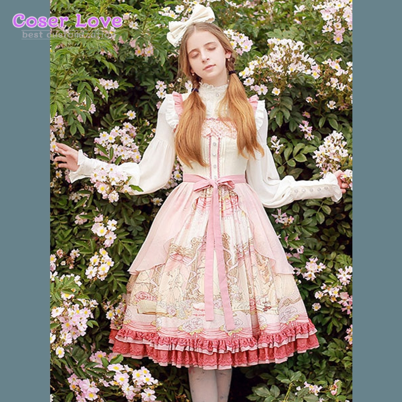 Classic Lolita OP One Piece Dress Chiffon Ribbons Ruffles Printed Soft Pink Lolita Dress !