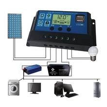 PWM 10/20/30A Dual USB Solar Panel Battery Regulator Charge Controller 12/24V LCD misol solar regulator lcd 50a 12 24v solar charge controller pwm lcd