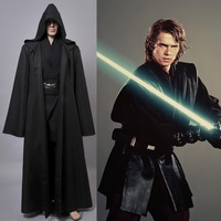 Hot Sale Star Wars Anakin Skywalker Movie Halloween Cosplay Costume Outfit Black Version Cloak For Men