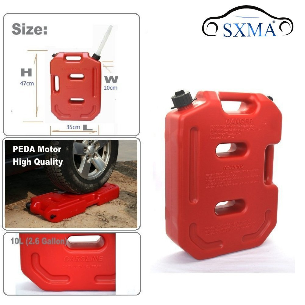 BESTSXMA Fuel Tank Cans Spare 2.6 Gallon Portable Fuel Oil Petrol Diesel Storage Gas Tank Emergency Backup (10L, Red) ef6600 petrol generator spare parts fuel tank assembly
