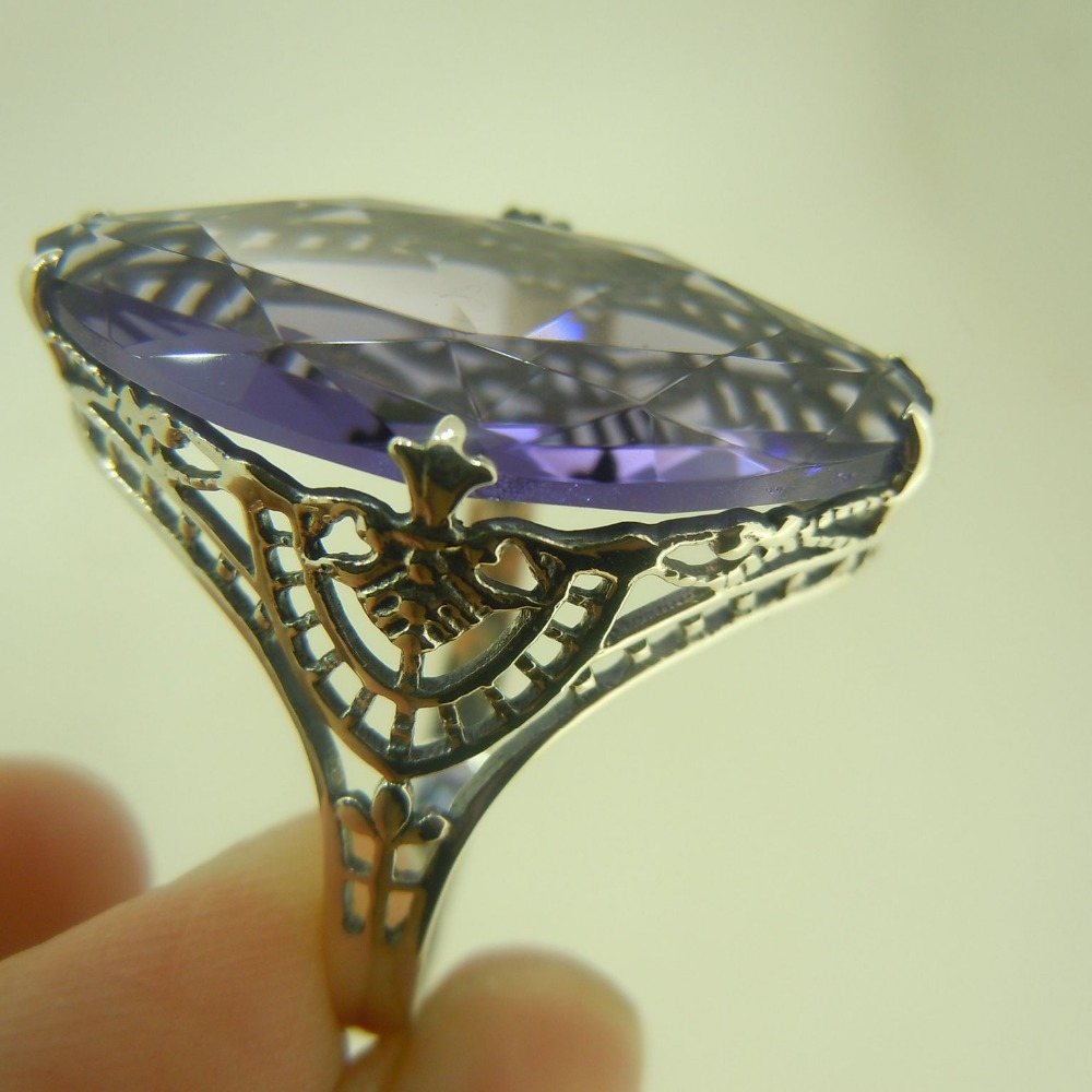 Custom processing wholesale and retail antique silver ring hollow out purple noble ring beautifully carved decorative