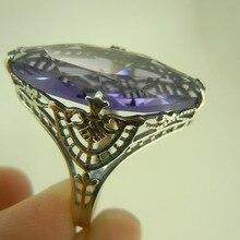 Mayor procesamiento personalizado y al por menor anillo de plata antigua ahueca hacia fuera la púrpura anillo noble bellamente tallado patrón decorativo