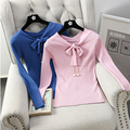 New Arrival V-neck  Bowknot Knitted Sweater Women 's Long Sleeve Slim Cute Pullovers Sweaters Knitwear Top Female