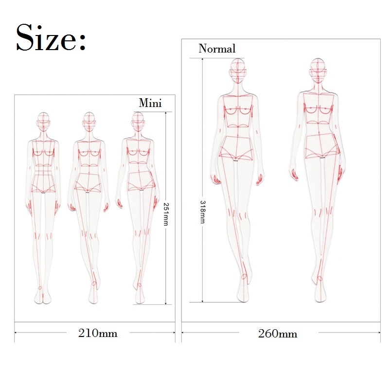 Fashion Ruler Fashion Line Drawing Human Dynamic Template for Cloth Rendering