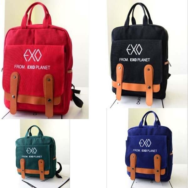 4d0947efa0d Free Shipping Fashion Women Casual Students School Bag Korean Lady Girl Shoulder  Bags EXO Printing Backpacks mochila Hot Sale