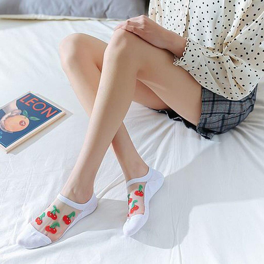 HTB1jBUqlnZmx1VjSZFGq6yx2XXaq - Women Casual Summer Fashion Transparent Silk Fruit Print Socks