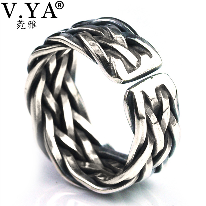 V.YA Big Size Thai Silver Ring For Men Women 925 Sterling Silver Ring Weave Shape Wedding Anniversary Fine Jewelry