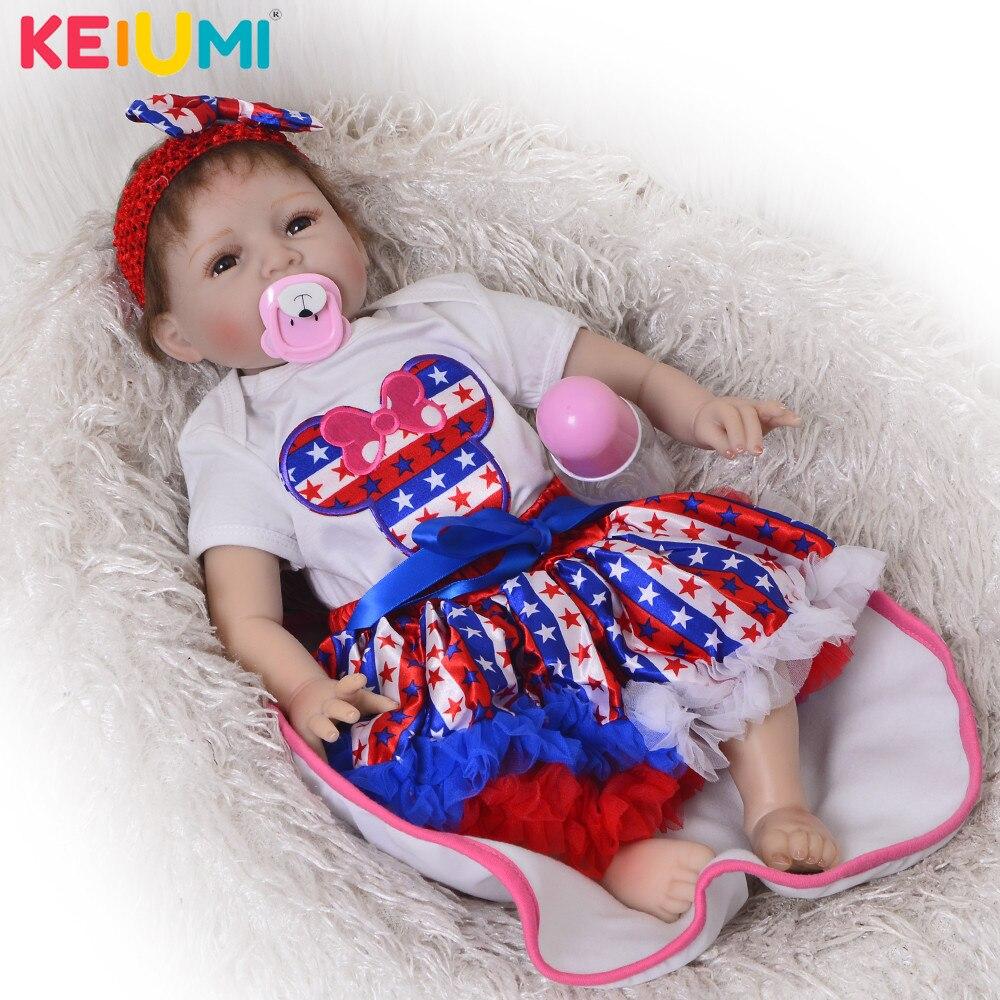 KEIUMI 55 CM Reborn bébé poupées en Silicone doux bébé réel comme sourire mode ethnique poupée toucher réel doux bébé Reborn offre spéciale