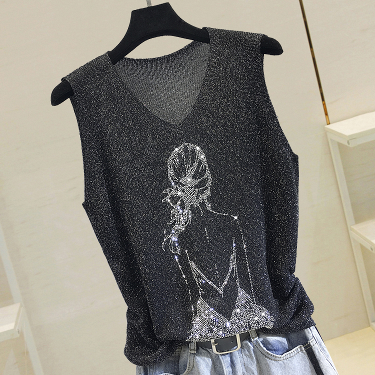 Summer Thin Bright Silk Knitted Shirt Women's New Fashion Girl Back Rhinestones Sleeveless T-shirt Outwear Jacket Women Tops
