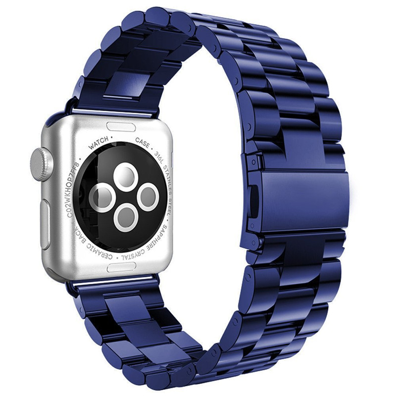 Classic Blue Stainless Steel Wrist Strap for Apple Watch Band 38/42 Metal Bracelet Replacment Watch Straps for iWatch Series 1 2 833 stylish 8 led blue light digit stainless steel bracelet wrist watch silver blue 1 x cr2016