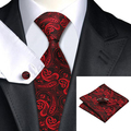 2016 Fashion red&black Paisley Tie Hanky Cufflinks Silk Necktie Ties For Men Formal Business Wedding Party C-314