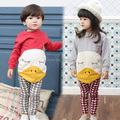 Newborn cute duck clothes baby cotton boys girls cartoon long-sleeved set winter sweater toddler girl clothing 2PC baby velvet s