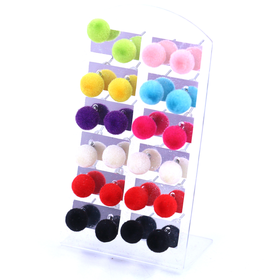 Gratis verzending Factory Hot Selling Korea Design Goedkope Pile Coating Resin Plastic Ball Iron Stick Stud Earring 12pairs / lot