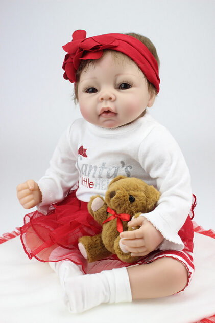 Silicone reborn baby dolls toy with bear lifelike play house accompany doll baby gifts girls brinquedos baby reborn doll babiese