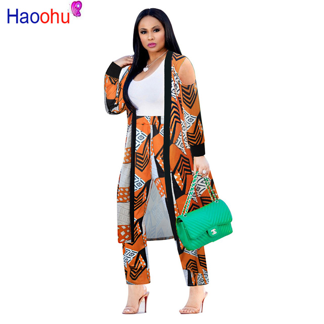 HAOOHU 2 Piece Set Women 2018 Plus Size Cardigan Long Trench Top And Bodycon  Pants Suit Casual Clothes Autumn Two Piece Outfits 70148c271755