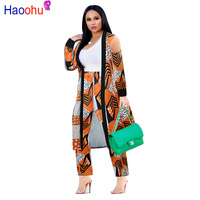 HAOOHU 2 Piece Set Women 2018 Plus Size Cardigan Long Trench Top And Bodycon Pants Suit Casual Clothes Autumn Two Piece Outfits