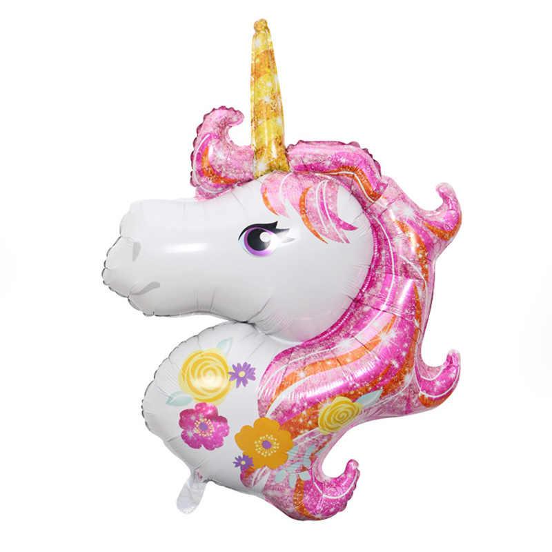 10 unids/lote enorme 120x80 cm de dibujos animados Arco Iris unicornio cabeza de aluminio globo de la fiesta de cumpleaños decoración de la boda de los niños de juguete de regalo