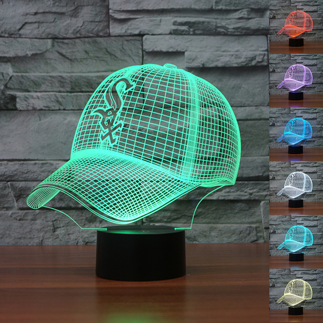 474047e2896 MLB Chicago White Sox 3D Light Colorful Night Light LED Neon Light 3D Baseball  Hat Cap