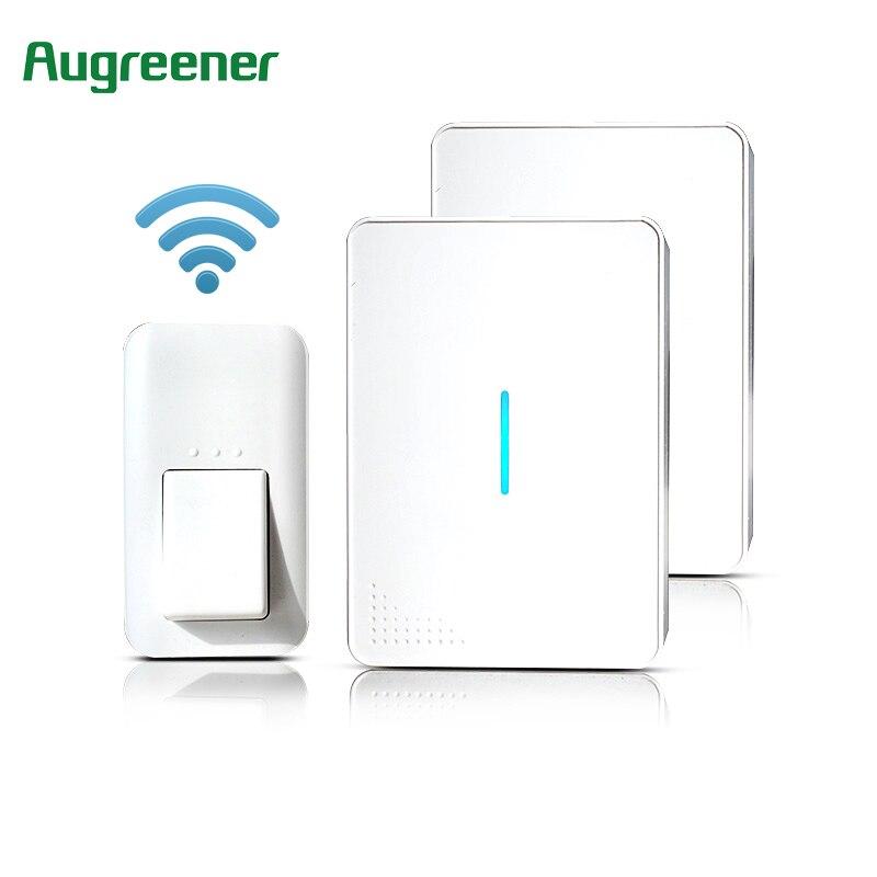 AuGreener No Battery Need Waterproof Doorbell 36 Melody Home Remote LED Wireless Door Bell 1 Doorbells Push Button+1 Receiver