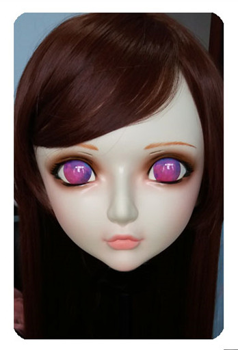 Motivated Women/girl Sweet Resin Half Head Kigurumi Bjd Mask Cosplay Japanese Anime Lifelike Lolita Mask Crossdressing Sex Doll dm027