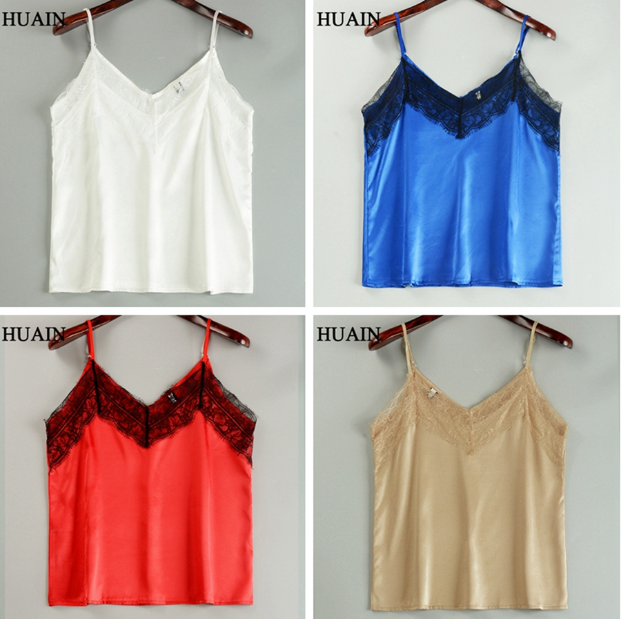 Lace Top Camis Sexy Tank Top Women Camisole Ladies 2018 New Solid Colour V Neck Sleeveless