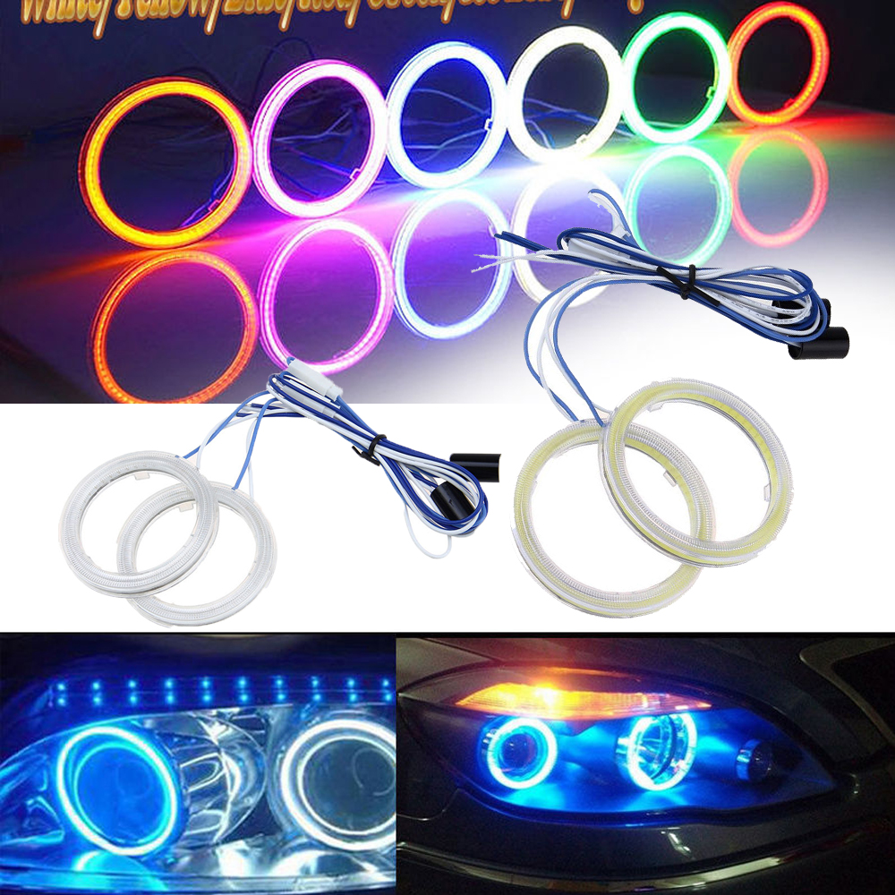 Possbay 70mm Car Auto Angel Eyes Headlight Cob Halo Ring Led Light Lights Wiring Diagram Bulb Lamp White Yellow Blue Red Green Ice Purple In Signal From Automobiles