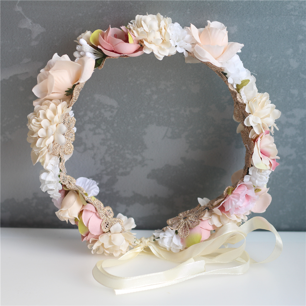 Flower Girl Crown Wedding Boho Headpiece Headband Hair Wreath