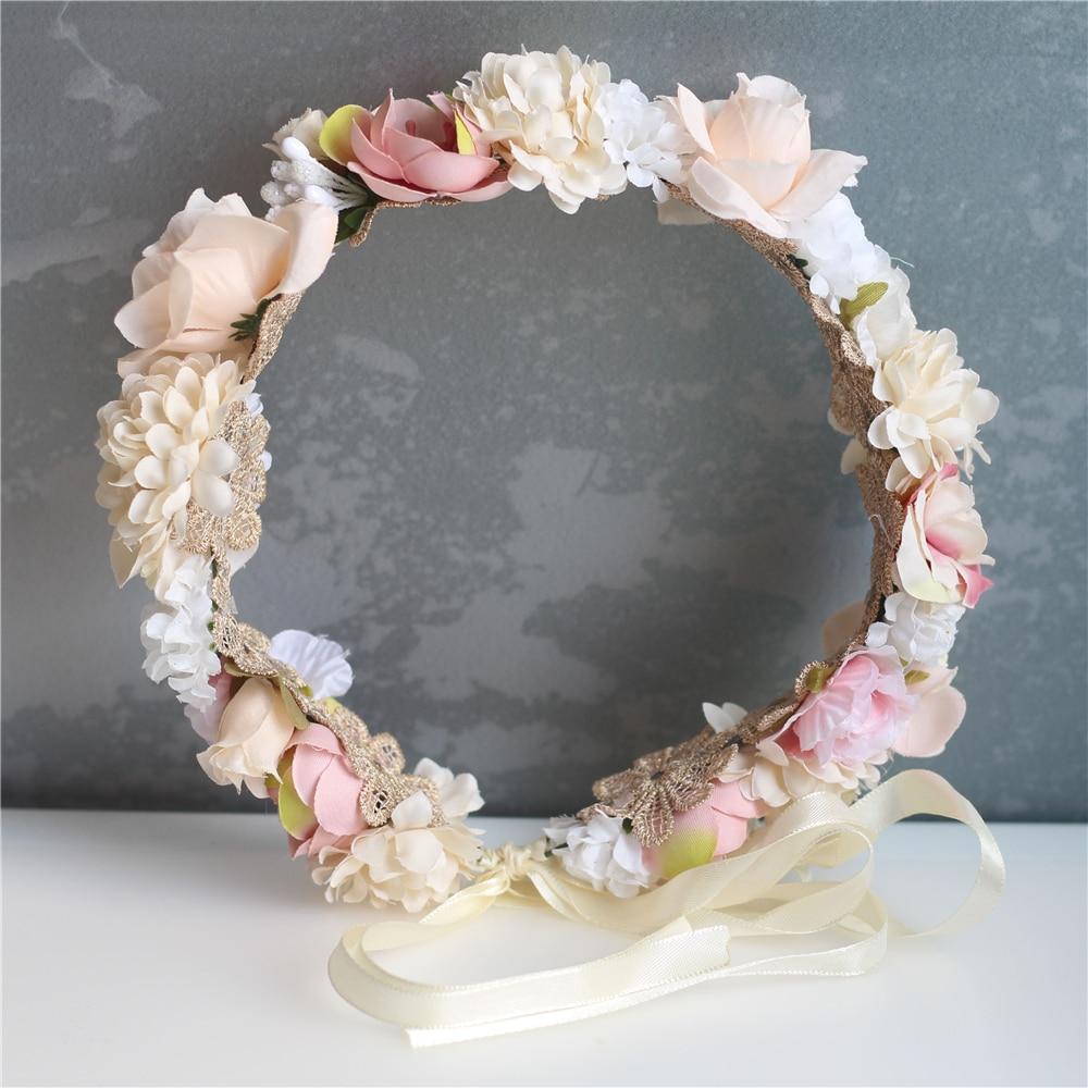 Цветок Девушка корона свадьба Бохо головной убор головная повязка венок для волос